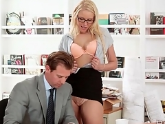 Secretary Vanessa Cage blows her boss