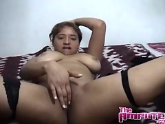 Big boobs girl blows an amputee