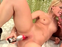 Hot blonde in a thong sucks his cock