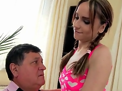 Skinny Leyla Black sucks old man dick