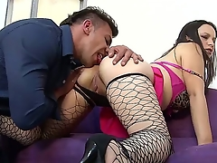 Busty Paloma Vargas yon sexy fishnet stockings gets her depraved pussy fingered wide of stud