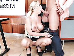 Johnny Hall uses his stocky pole back make Bibi Noel with massive boobs added to bald pussy happy