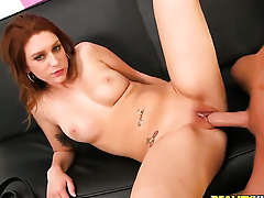 Redhead gets her hands fucked hard