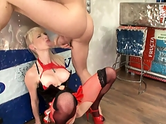 Busty blonde in amulet undies gets will not hear of face and ass fucked hard
